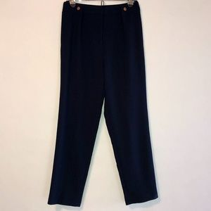 TOPSHOP Navy Trouser Gold Metal Hardware Pleated 2